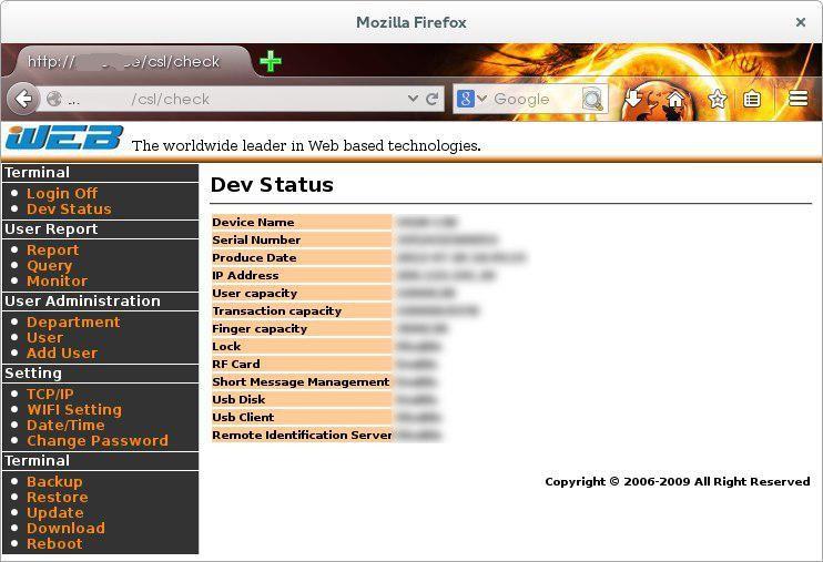 fitur webserver pada mesin absensi